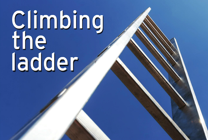 Climbing the ladder wording with ladder logo