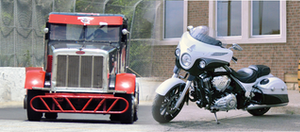 Minimizer about to give away Bandit race truck, Indian motorcycle