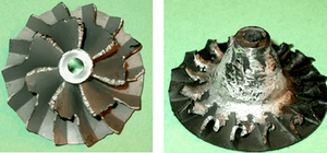 Severe compressor wheel damage caused by a foreign object in the turbocharger