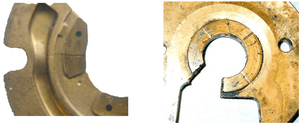 loss of oil film and excessive heat caused cracked and worn thrust bearing pads