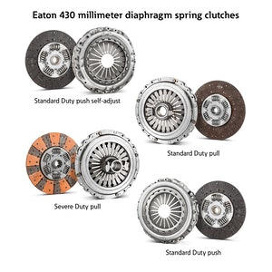 Eaton has introduced new additions to its 430-millimeter diaphragm spring clutch portfolio for global heavy-duty commercial vehicles, which offer solutions for current and powertrain technology advancements.