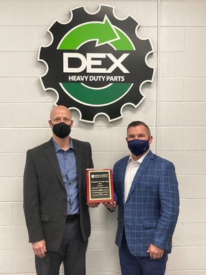 Carey Hubbard, DEX Advance site manager, and Darin Redmon, director of operations for DEX Heavy Duty Truck Parts.