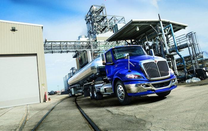 International truck parked on jobsite