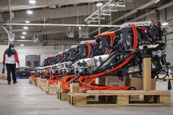 Assembled electric powertrains ready for installation into Lightning Electric Transit 350HD vehicles