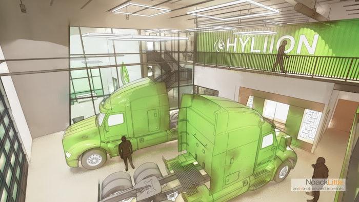 Hyliion headquarters showroom rendering