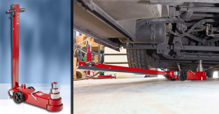 Two photos side by side. A jack by itself and one under a truck.