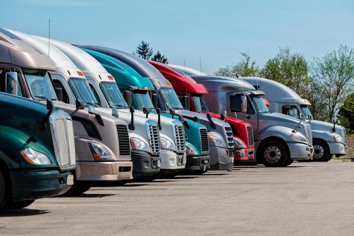 Trucks parked on lot