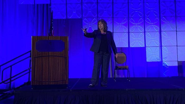 Tina Hubbard speaking at meeting