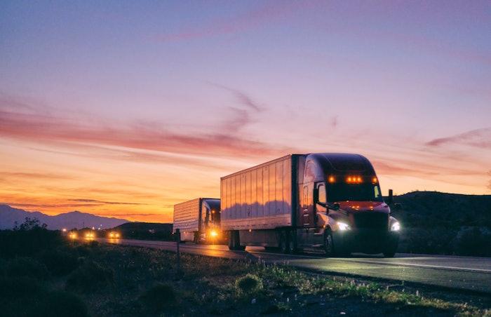 Trucks on road