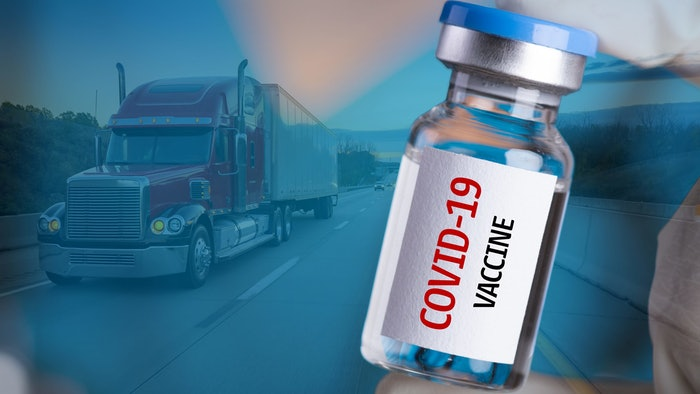 COVID vaccine vial and truck