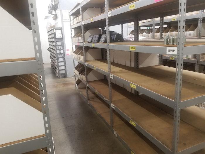 Transerve empty warehouse shelves
