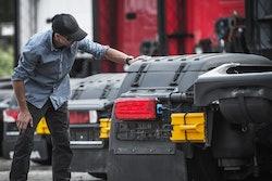 Customer looking at truck