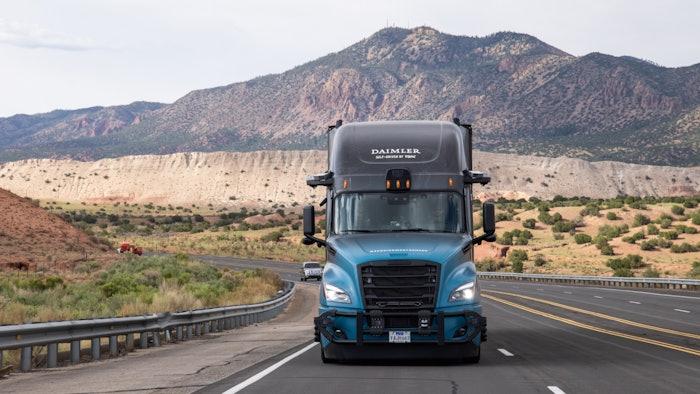Daimler Torc autonomous truck driving.
